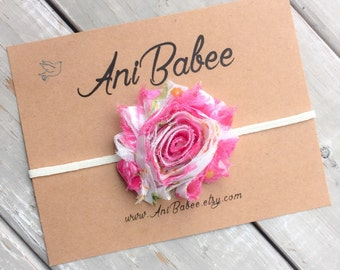 Pink flower Baby headband, shabby flower baby headband, flower headband, floral print headband