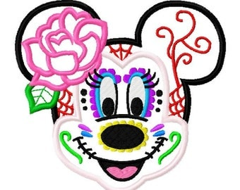 Character Inspired Miss Sugar Skull Embroidery Applique Design
