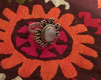 Vintage Moonstone Ring Sterling Silver Handmade Vintage Ring-Ethnic-Hippy-Gypsy
