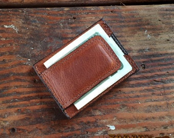 Brown Leather Magnetic Money Clip Wallet - Free Shipping to USA