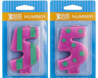 """5 Birthday Candle - 2.75"""" Orange Dots & Stripes #5 number five"""