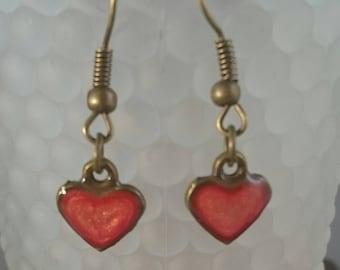 Stunning vivid red hand painted pebeo prisme heart earrings