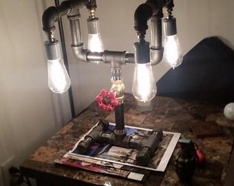 Steampunk black pipe lamp
