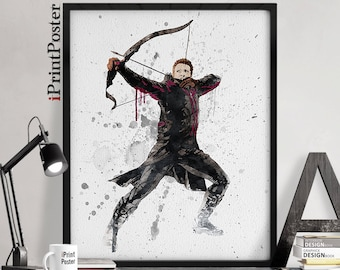Hawkeye poster, Marvel print, Avengers, Hawkeye watercolour, Marvel comics, Wall art, Comic art, Home decor, Gift for him, iPrintPoster.