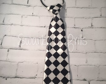 Checkered Tie, Black and White Tie, Birthday Tie, Boy Neck Tie, Toddler Neck Tie, Birthday, Wedding