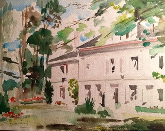 Mansion in the French countryside (antique watercolor painting)