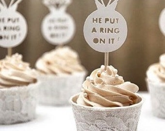 Engagement/bridal shower cupcake topper