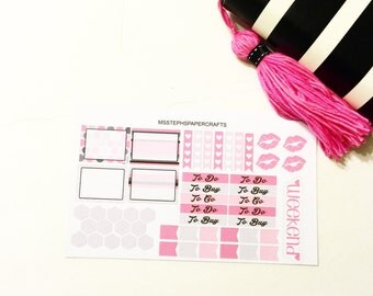 Pink Kisses - Personal/A5 Stickers