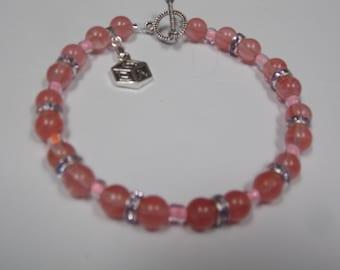 Beaded hand made bracelet w/Tourmaline,W/ baby charm