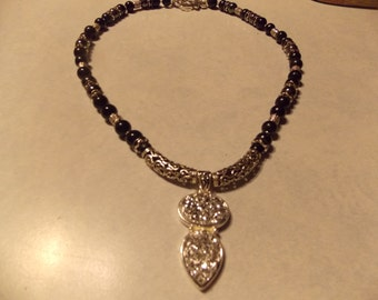 One of a kind Hand made necklace Silver Druzy