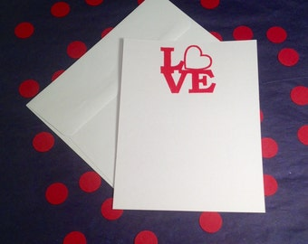 Love Note/Valentine's Day Correspondence Cards - Red and White - Set of 8