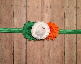 St. Patrick's day Irish flag colored headband with shabby flowers for baby toddler and adult