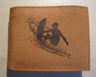 "Mankind Wallets Men's Leather RFID Blocking Billfold w/ ""Surfer/Surfing"" Image~Makes a Great Gift!"