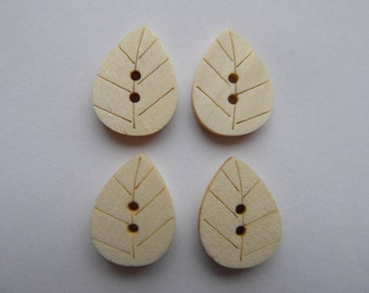 10 leaf buttons, wooden leaves, sewing, scrapbooking