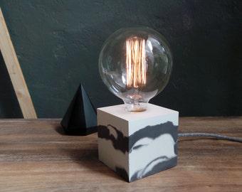 Marbled concrete lamp. Concrete table lamp. Concrete desk lamp. Industrial style. Concrete light. Vintage bulb. Table lamp. Lighting