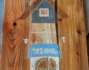 Tea Room - Carved into Cedar