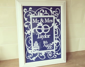 Wedding Papercut - First Anniversary papercut - Personalised Wedding Gift - Wedding Papercut - Unique Wedding Gift