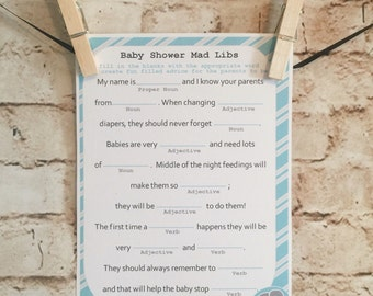 Customizable Baby Shower Mad Libs - instant download to print - Grey, Teal & White (can customize colors and/or stamp)