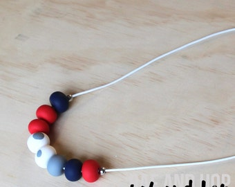Polymer clay bead necklace. Red navy white grey 'the marissa'