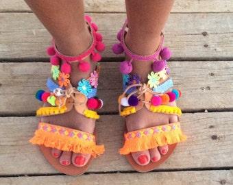 POM POM Sandals, Boho Greek Sandals,Gladiator Sandals, Peace and Love sandals, Leather Sandals, Bohemian sandals, Gipsy sandals, Handmade S