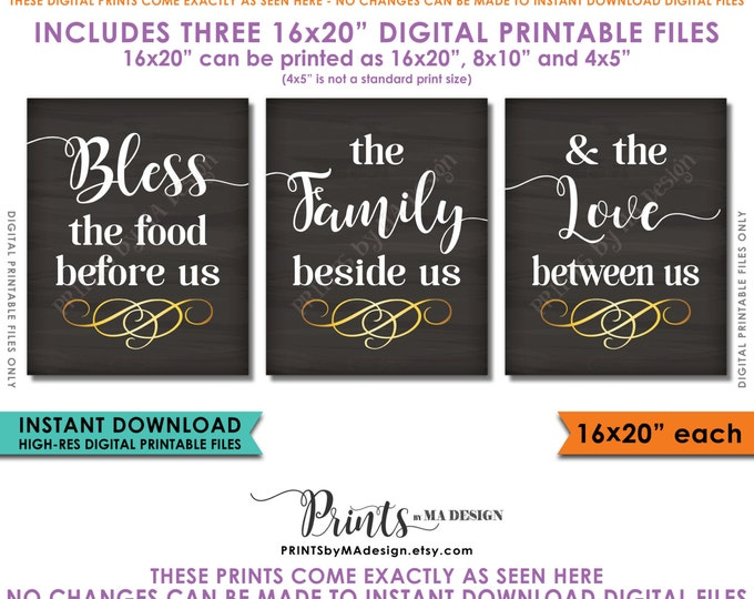 "Bless the Food Before Us The Family Beside Us the Love Between Us Kitchen Wall Decor 16x20"" Chalkboard Style Instant Download Printables"
