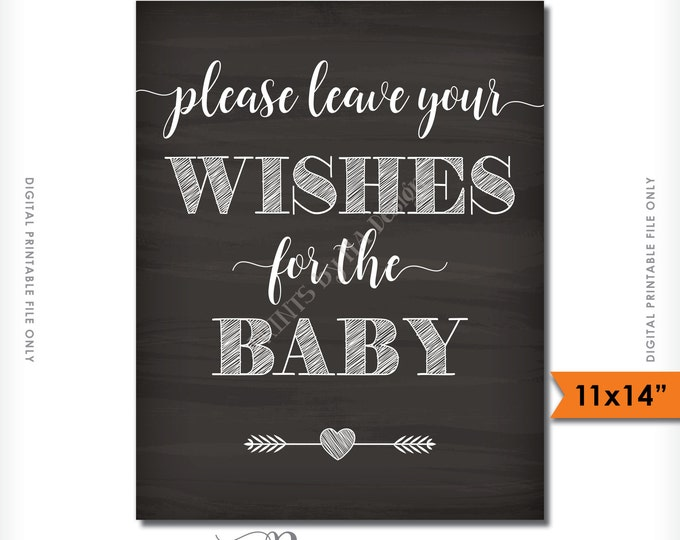 Wishes for Baby Printable Sign, Baby Shower Sign, Please Leave your Wishes for the Baby Chalkboard, 11x14 Instant Download Digital Printable