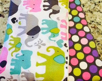Elephants and Dots Cloth Diaper Burp Cloths