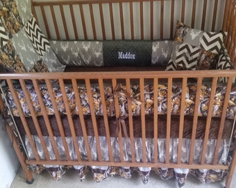 Camo, hunter green and gray deer head baby bedding.
