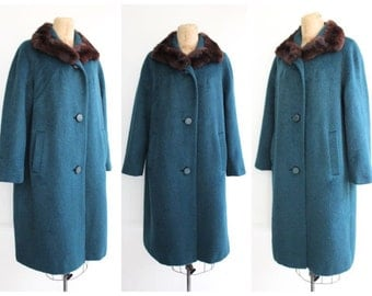 Vintage 1950's Persian Blue Fur Collar Coat vintage wool coat blue 50's 1950's fifties pinup winter