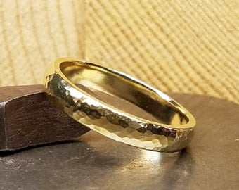 4mm Hammered Women's Wedding Band in 100% Eco-Friendly Recycled 14K Yellow Gold with Free Sizing 4-12