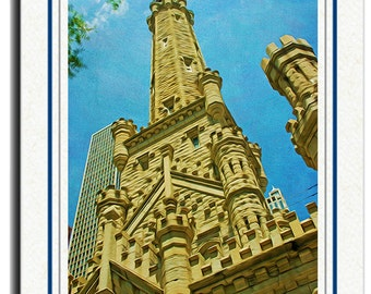 Chicago Photography, Chicago Water Tower, Photo Greeting Card, Chicago Architecture, Chicago Buildings, 5x7 Blank Card, Photo Note Cards