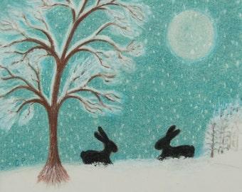 Rabbit Card, Snow Card, Bunny Card, Children Card, Rabbit Snow Card, Blank Card, Rabbit Moon Snow Card, Black Rabbit Card, Kids Card Bunny