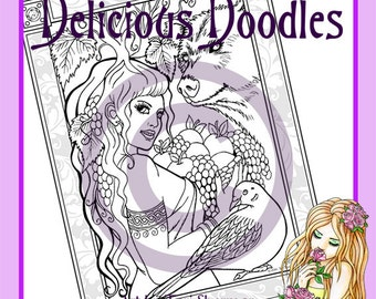 Digital Stamp, Colouring Page - Goddess Page, September, Mabon