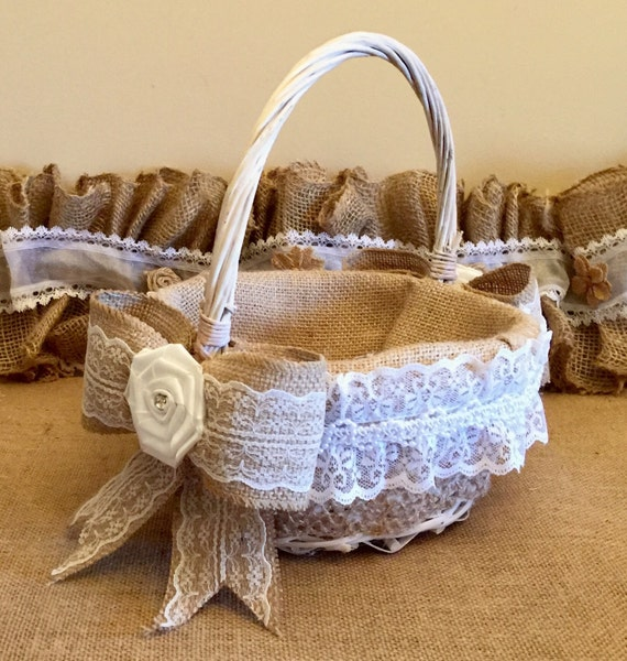 Flower Girl Baskets Burlap And Lace : Handmade burlap and lace flower girl basket ready to ship