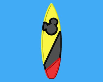 Boys Summer Mouse Shape Surfboard Machine Applique Embroidery Design Fits Hoops 5x7 6x10 Instant Download