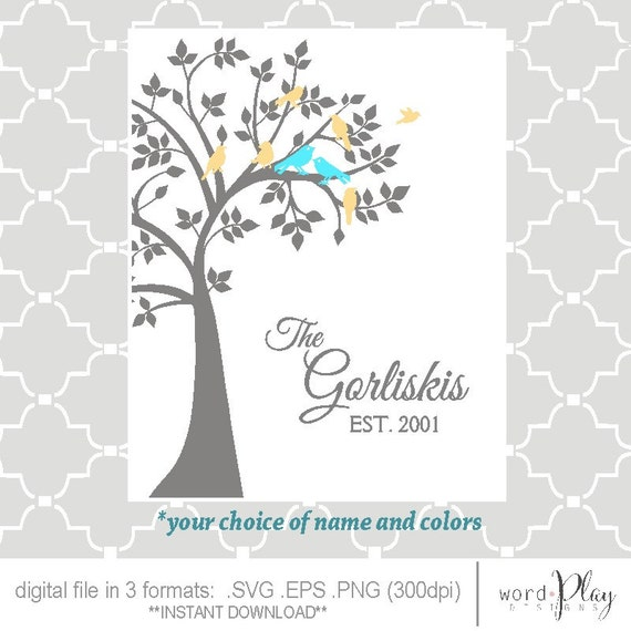 Svg Family Tree Birds Est Date Digital File Png Eps