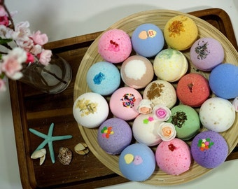 Pack of 8 Bath Bombs 4.5 oz Each Large Fizzy Assorted Colors & Scents Natural Handmade Fizzies Shea Cocoa Butter Moisturize Dry Skin Gift