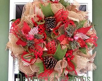 Christmas wreath, Front door wreath, Door wreath, Holiday wreath