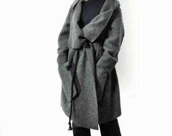 Gray 100% wool coat/Casual wool coat/Extravagant dark gray wool coat/ woman coat/Asymmetrical long coat/Coat with pocket/Handmade coat/C1359