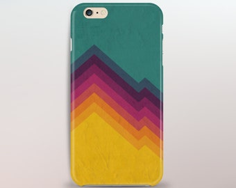 Retro California Colours iPhone Case - Vibrant Purple and Sunshine Yellow Geometric Gradient - iPhone Case