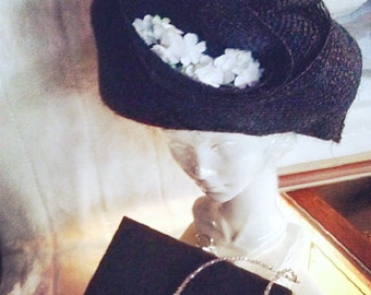 1950's Pillbox Hat Black with White Flowers Mid-Century Hat Perfect for Many Special Events