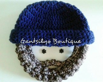 Baby/Toddler Bearded Beanie - 12 Mos to 3 Yrs Old - Winter Hat - Photo Prop - Made to Order