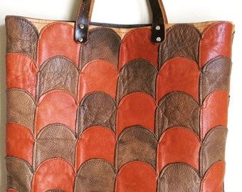 Large vintage leather patchwork tote.