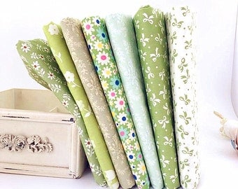 Green Bundle Fabric Green Collection Flowers Bowtie Fabric Cotton Fabric Sets for 7 each for Quilting Cloth Bag 50X40cm bf17