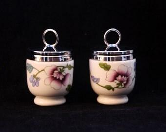 Two Vintage Royal Worcester Porcelain Egg Coddlers in the Astley pattern