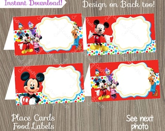 Mickey Mouse Place Cards, Mickey Mouse Food Labels, Mickey Mouse Birthday, Mickey Mouse Party, Mickey Mouse Tent Cards, Mickey Birthday