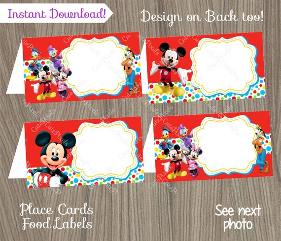 Mickey Mouse Place Cards Mickey Mouse Food Labels Mickey