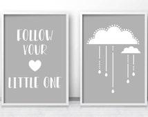 Cloud Nursery Art Print, Digital Nursery Print Set, Gray Nursery Decor, Baby Wall Art, Printable Nursery Wall Art, Gray White Nursery Prints