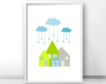 Printable nursery art, wall art nursery, modern nursery wall decor, Little houses in the rain nursery art
