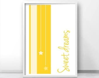 Sweet Dreams Nursery Print, Printable Nursery Art, Gender neutral Baby Wall Art, Digital Nursery Art Yellow Nursery Decor, Baby Art Print